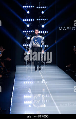 MILAN, ITALY - SEPTEMBER 27: Designer Mario Dice walks the runway during the Mario Dice fashion show as part of - Stock Photo