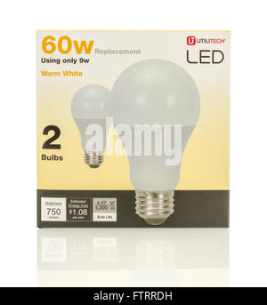 Winneconne, WI - 29 March 2016:  A box of 60w LED lightbulbs made by Ulititech. - Stock Photo