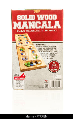 Winneconne, WI - 29 March 2016:  A box of the popular game mancala made by Cardinal Industries. - Stock Photo