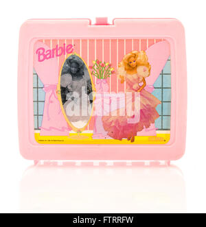 Winneconne, WI - 29 March 2016:  Plastic lunch box from the 1980's featuring Barbie, a very popular doll for girls. - Stock Photo
