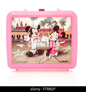 Winneconne, WI - 29 March 2016:  Plastic lunch box from the 1980's featuring Mickey and Minnie Mouse from Disney - Stock Photo