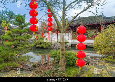 Red lanterns decorate Dr Sun Yat Sen Garden, Chinatown, Vancouver, British Columbia, Canada - Stock Photo