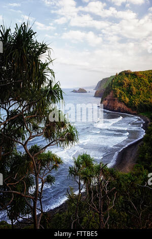Evening light on the lush vertical cliffs along the North Shore of Kohala on the Big Island of Hawaii.
