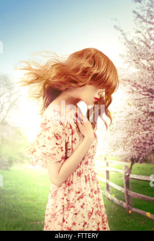 Woman on a windy spring day