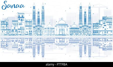 Outline Sanaa (Yemen) Skyline with Blue Buildings and Reflections. Vector Illustration. Business Travel and Tourism - Stock Photo