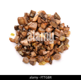 Top view of fried mushrooms and onion isolated on white - Stock Photo