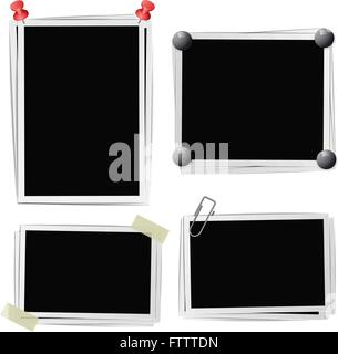 Set of photo frames with pins, pushpins, adhesive tape, clips on white. Vector illustration - Stock Photo