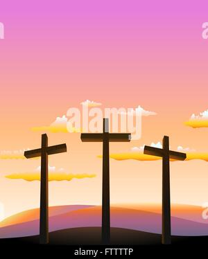 three crosses on the Calvary abstract background. vector illustration - Stock Photo