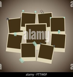 Set of ancient photo frames with pins, pushpins, adhesive tape, clips. vector illustration - Stock Photo
