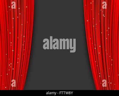 red theater curtains with glitter. abstract background with opera red drapes and glittering stars. horizontal vector - Stock Photo