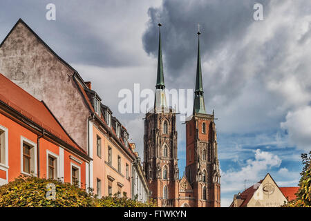 The Wroclaw Cathedral is located on the Cathedral Island (Ostrow Tumski), Wroclaw, Lower Silesia Voivodeship, Poland, - Stock Photo