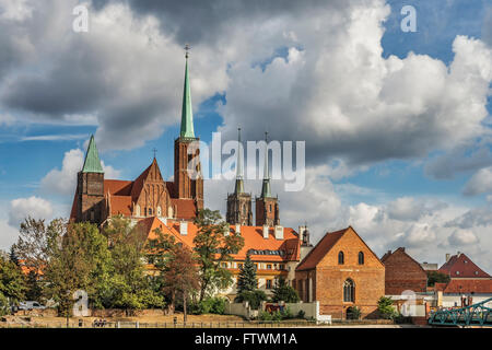 On the Cathedral Island are the Cross Church (left) and the Wroclaw Cathedral (right), Wroclaw, Poland, Europe - Stock Photo
