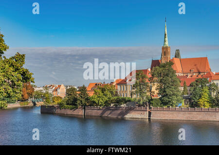 The Cross Church is located on the Cathedral Island, Wroclaw, Lower Silesia Voivodeship, Poland, Europe - Stock Photo