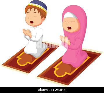 Muslim kid praying - Stock Photo