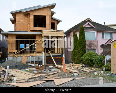 Detached new home under construction in Greater Vancouver. March 2016 - Stock Photo