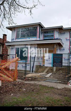 Detached home under construction in Burnaby, suburb of Greater Vancouver. March 2016 - Stock Photo