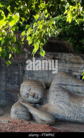 Reclining Buddha in Nirvana, Gal Vihara Rock Temple, Polonnaruwa, Sri Lanka, Asia - Stock Photo