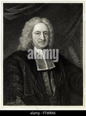 Edmond Halley (1656-1742) English astronomer and thematic cartographer. Engraving by W.T. Fry. See description for - Stock Photo