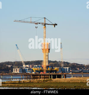 Mersey Gateway Project. Constructing a new bridge across the River Mersey upstream from the Silver Jubilee Runcorn - Stock Photo