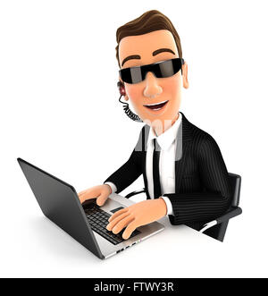3d security agent works on laptop, isolated white background - Stock Photo