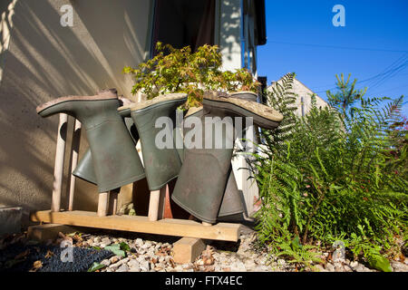 Four pairs of wellington or gum boots stored on a boot rack outside a front door to keep them dry and tidy. - Stock Photo