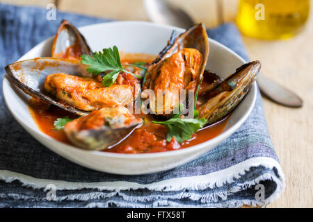 New zealand Mussels in Tomato and herbs sauce - Stock Photo