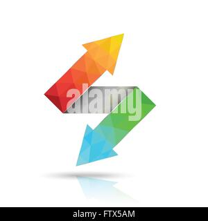 Two way arrows up and down directions consisting of triangles. Vector illustration. - Stock Photo
