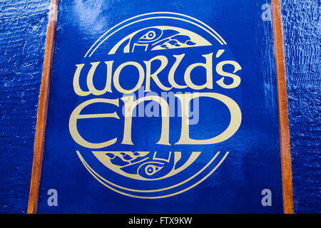 EDINBURGH, SCOTLAND - MARCH 12TH 2016: The sign for the Worlds End public house on the Royal Mile in Edinburgh, - Stock Photo