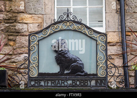 EDINBURGH, SCOTLAND - MARCH 9TH 2016: The sign above the Greyfriars Bobby public house on Candlemaker Row in Edinburgh, - Stock Photo