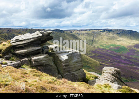 Rocky outcrop of gritstone at Seal Edge, part of the northern edge along Kinder Scout, Derbyshire, Peak District - Stock Photo