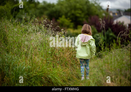 Rear view of a girl walking in  field of long grass - Stock Photo