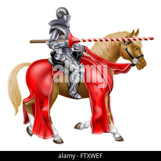 Medieval jousting knight on a horse holding a lance - Stock Photo