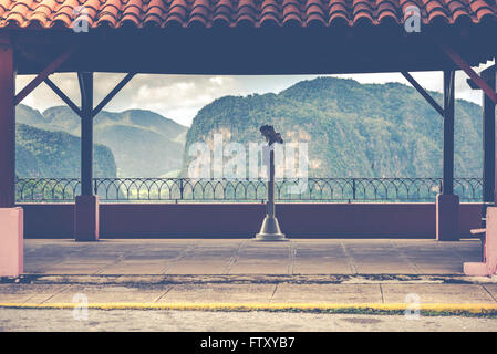 Telescope ovelooking at Cuba Valley Vinales green hills, vintage toned photo - Stock Photo