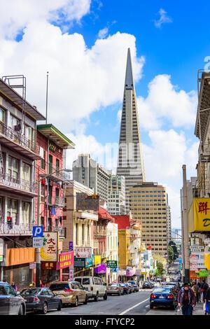 SAN FRANCISCO, CALIFORNIA: MARCH 6, 2016: Chinatown district of San Francisco towards the Transamerica Building. - Stock Photo