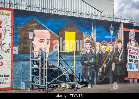 Irish republican mural at international wall in the falls for Easter rising mural