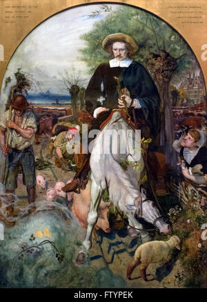 'Cromwell on His Farm St Ives 1630', a painting of Oliver Cromwell by Ford Maddox Brown, 1874 - Stock Photo