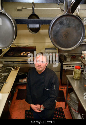 Albuquerque, NM, USA. 29th Mar, 2016. Co-owner and chef Ryan Sea brook of the Olive Branch Bistro. Tuesday, Mar. - Stock Photo