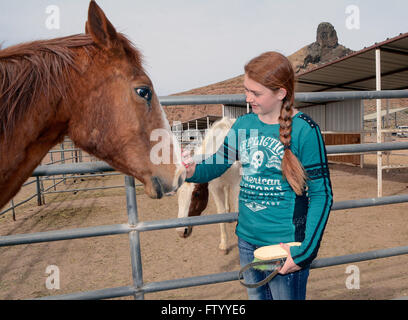 Albuquerque, NM, USA. 29th Mar, 2016. Tristin King of Salt Lake City, UT. with one of the 30 plus horses that the - Stock Photo