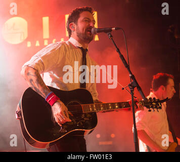 Barcelona, Spain. 30 March 2016. English folk singer Frank Turner performs live in the Bikini concert hall singing - Stock Photo