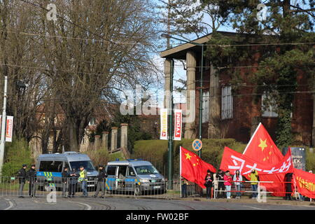 Chotkova Road in Prague, Czech Republic was cordoned off on the morning of Tuesday 29th March 2016 for President - Stock Photo
