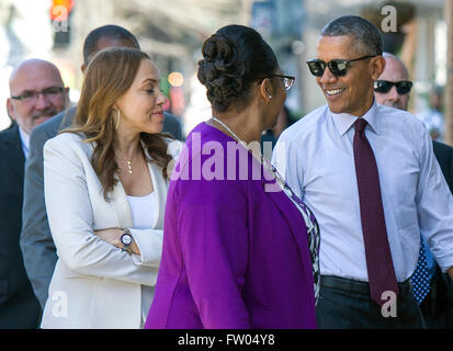 Washington DC, USA. 31th March, 2016. United States President Barack Obama walks with former inmates as he arrives - Stock Photo