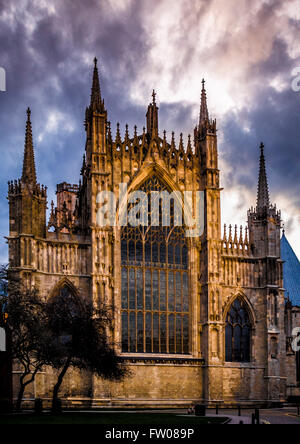York, UK. 31st March, 2016. Sunset at York Minster after completion of a £20M restoration project on the East Window. - Stock Photo