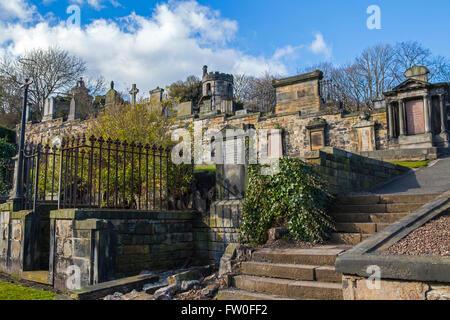 A view of New Calton Burial Ground in Edinburgh, Scotland. - Stock Photo