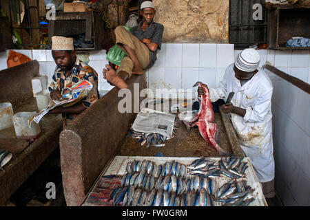 Sale of fresh fish in the Stone Town market, Zanzibar, Tanzania. - Stock Photo