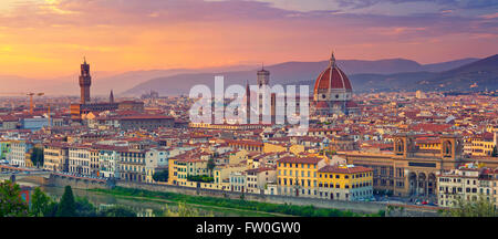 Florence Panorama. Panoramic image of Florence, Italy during beautiful sunset. - Stock Photo