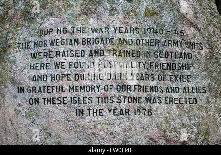 EDINBURGH, SCOTLAND - MARCH 10TH 2016: The text on the Norwegian War Memorial Stone in Edinburgh, on 10th March - Stock Photo