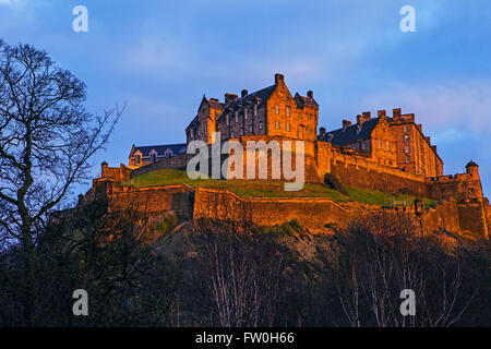 A view of the magnificent Edinburgh Castle in Scotland. - Stock Photo