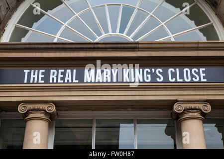 EDINBURGH, SCOTLAND - MARCH 12TH 2016: The sign above the entrance for the Real Mary Kings Close along the Royal - Stock Photo