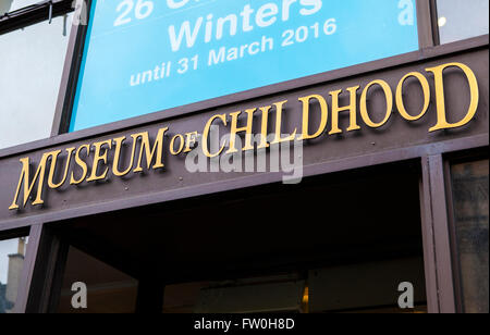 EDINBURGH, SCOTLAND - MARCH 12TH 2016: A view of the sign above the main entrance to the Museum of Childhood in - Stock Photo