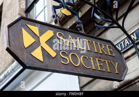 EDINBURGH, SCOTLAND - MARCH 12TH 2016: A sign for the historic Saltire Society in Edinburgh, on 12th March 2016. - Stock Photo